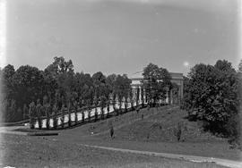 Lincoln Memorial : General view of Memorial and flanking trees from the southwest ; 5:30 PM