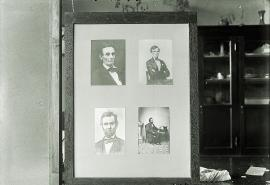 Neg. no. 175 : Lincolniana ; Lincoln portraits in swinging frame