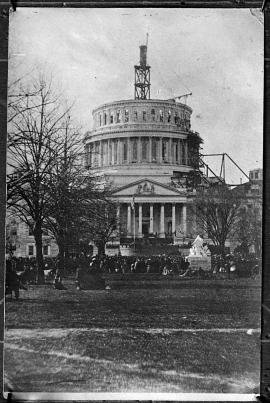 Photo (or Meserve photo) of Capitol at Washington the day of Lincoln's Inaugeration (made by...
