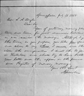 Copy of Lincoln/Douglas letter of July 31, 1858 (Chicago Historical Society)